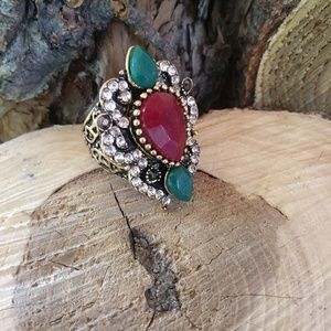 Vintage Turkish Gold Ruby Emerald shield ring